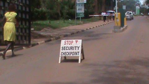 Police check point at Makerere University Main Gate